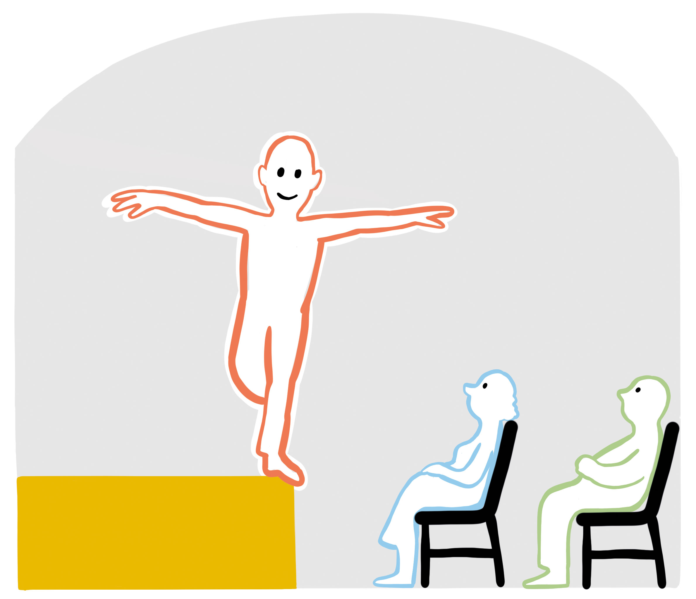 Ein Mann balanciert am Bühnenrand. Zwei Zuschauende schauen ihn an.