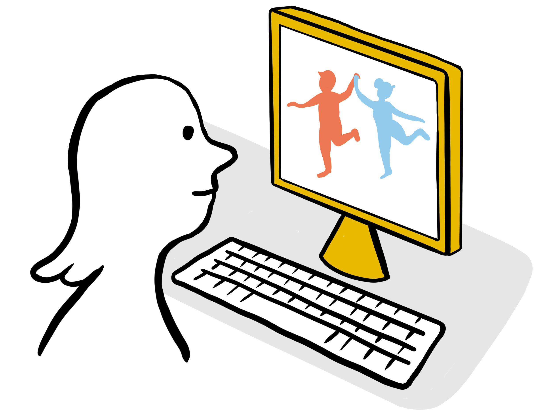 Person schaut auf einen Computerbildschirm, wo 2 Personen tanzen.