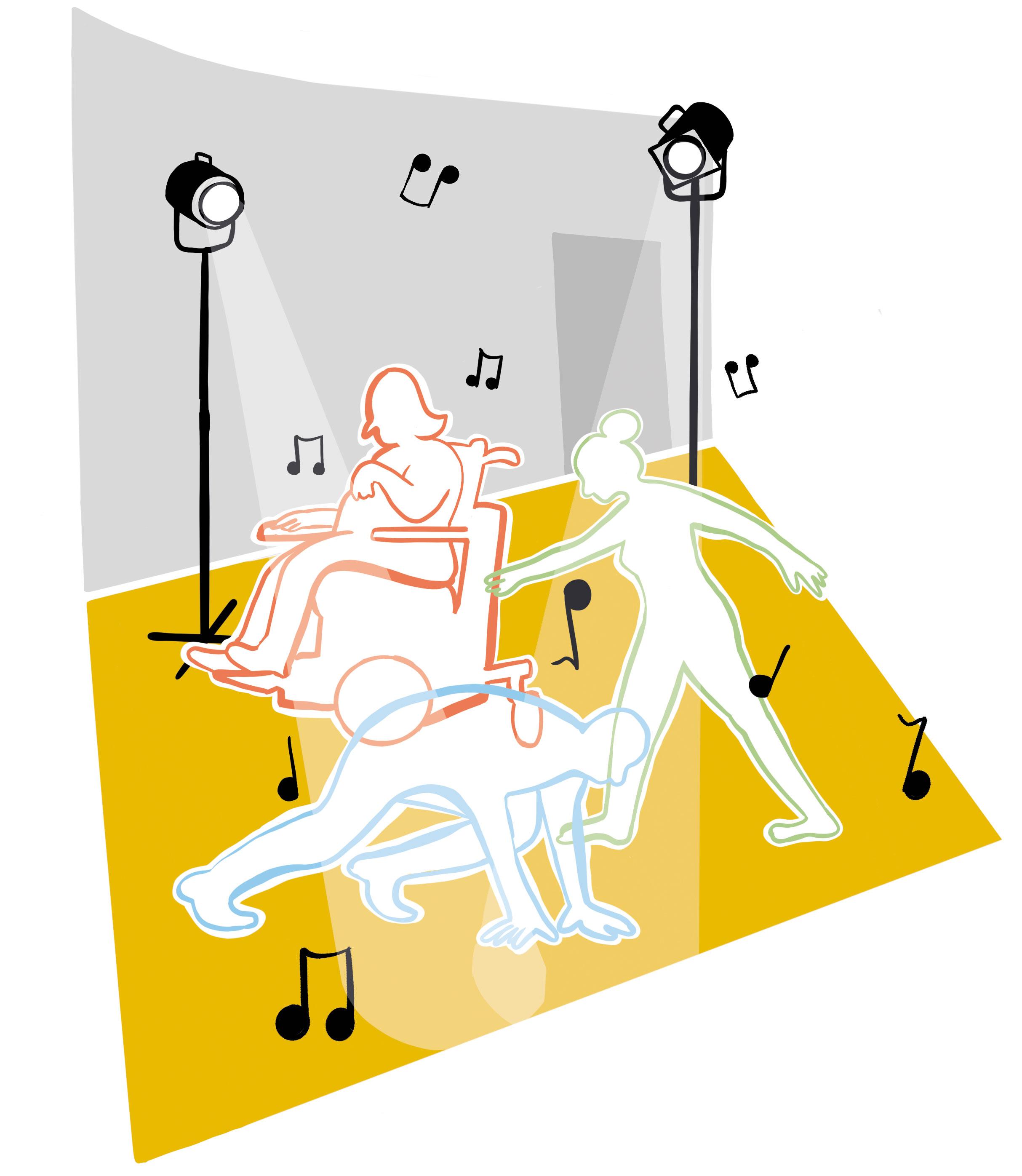 3 Tänzer:innen tanzen auf einer Bühne. Es wirkt chaotisch.