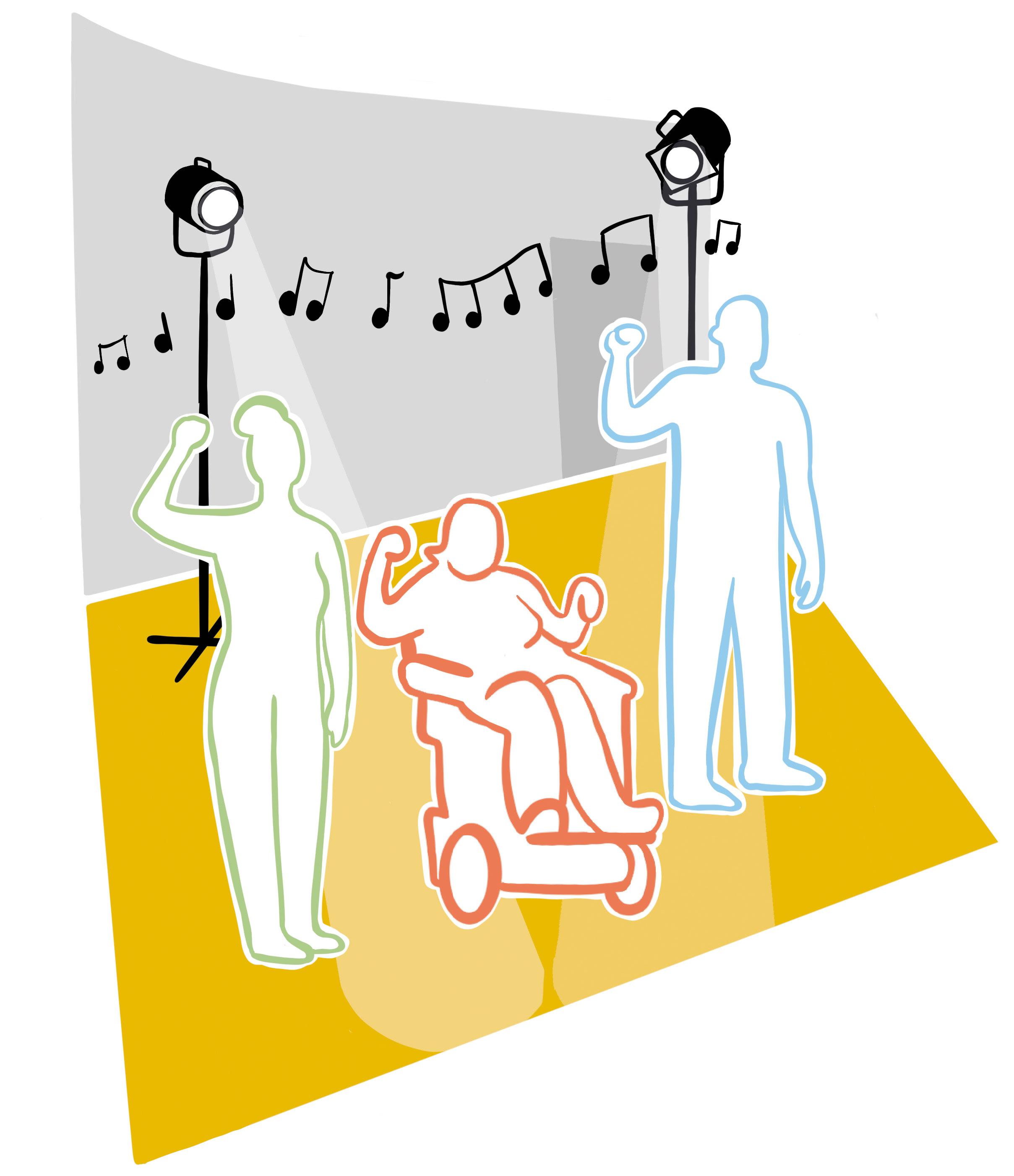 3 Tänzer:innen auf einer Bühne. Sie stehen nebeneinander und halten eine solidarische Faus hoch.